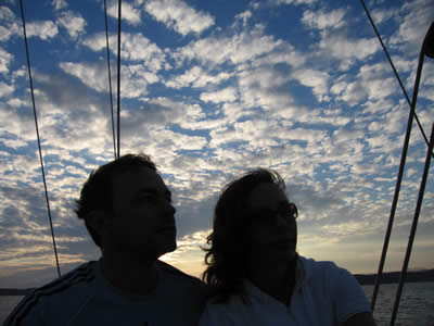 Rus and Fiona admire the dusky sky aboard Esper