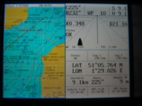 Plotter showing English Channel