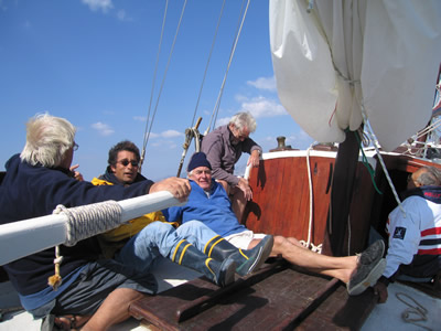 Orkan crew share a joke - those damn northerlies!