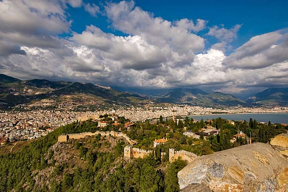 View of the Taurus mountains from the castle