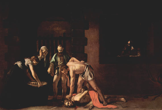 The Beheading of Saint John the Baptist, 1608, by Caravaggio.  At 3.6m x 5.2m this is an inspired piece of work. Note the absence of angels, halos and other fantasy features associated with art from this period. The reproduction of this image doesn't do the reds justice, unfortunately.