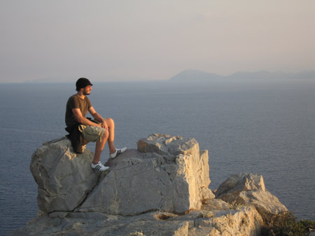 Ethan taking in the sunset from Knidos