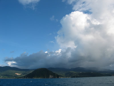 Which way round Guadeloupe? Er, under those clouds!