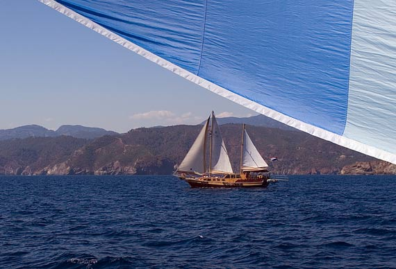 A passing gulet, as seen from under our cruising chute