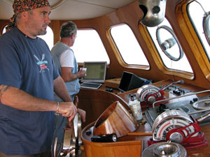 Me at the helm (pic by Liz)