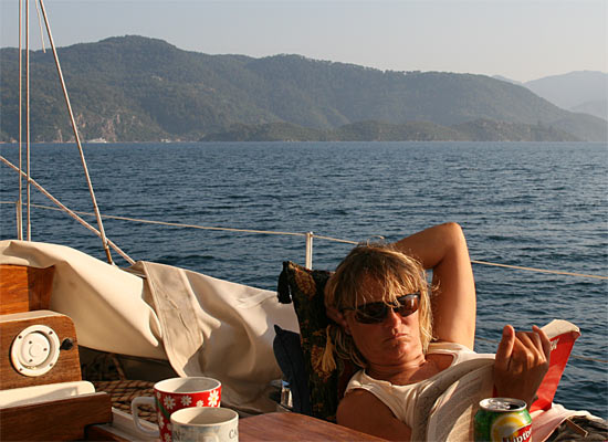 Liz relaxing in the bay of Marmaris