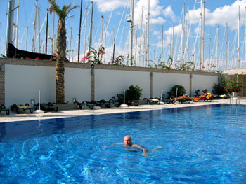 Mike swimming in the Marmaris Yacht Marina pool Source: M&L Furlong