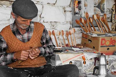 Old master wood-carver in Sirince