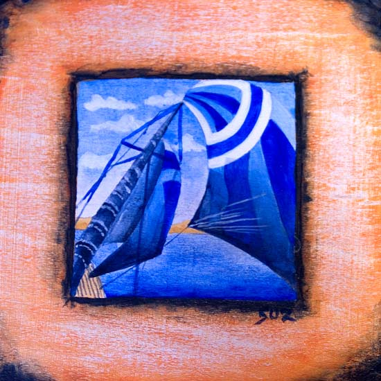 Suzanne's acrylic on wood - Esper under sail
