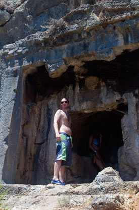 Marcus at one of the tombs, which may be climbed to from the small beach. Don't forget water. Lots of it.