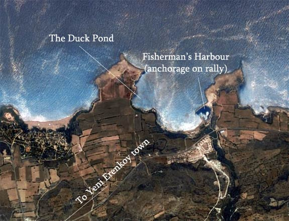 Image shows the original anchorage for the rally in the fishing harbour. When we returned we anchored in the Duck Pond.