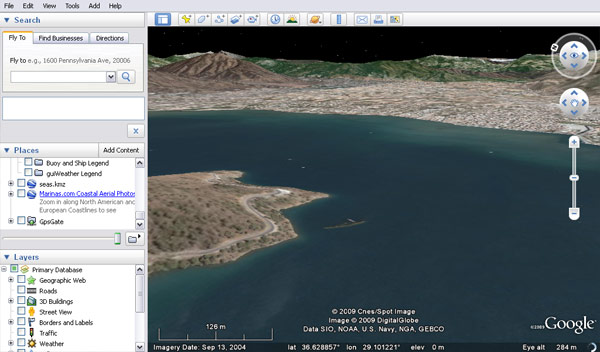 Easterly aspect of Fethiye anchorage by Ece Saray Marina, clearly showing the wreck in the north of the bay. Image shows Google Earth's navigation features