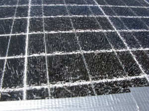 A bandaged solar panel. Many shards of glass!