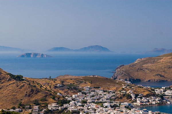 Looking down onto the town of Skala