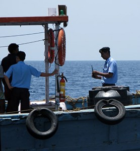 Many official vessels are old fishing boats