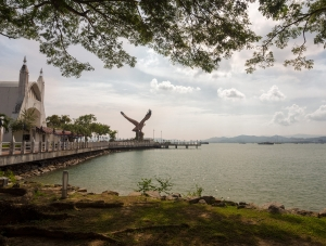 View across Kuah bay looking towards the eagle