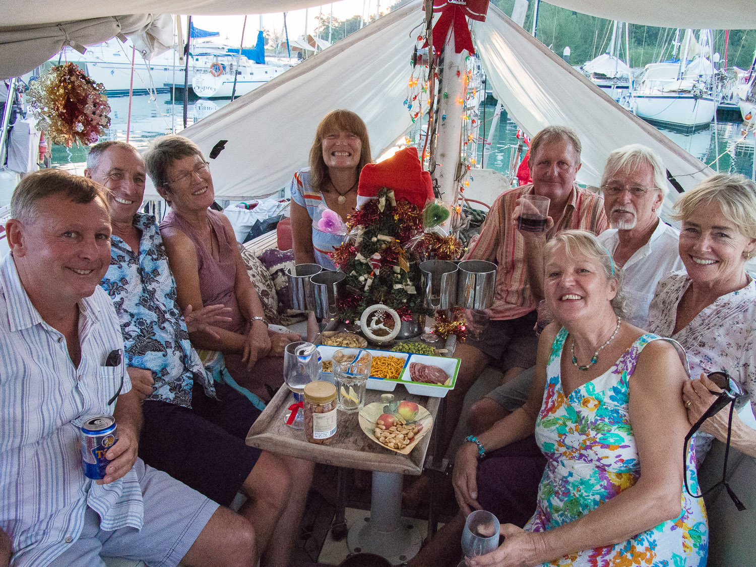 Antony, Tony, Pat, Liz, Terry, Brian, Debs and Div aboard Esper for Christmas drinks