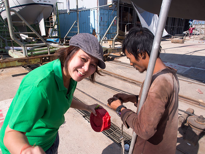 Jib, office worker at PSS, and one of the yard boys get the crackers ready