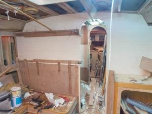 White vine veneer has laready gone up in the saloon