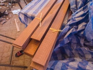 The teak planks have been sliced and cut to create a 6mm veneer