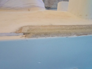 Filled but yet to be smoothed non-toe-rail edge