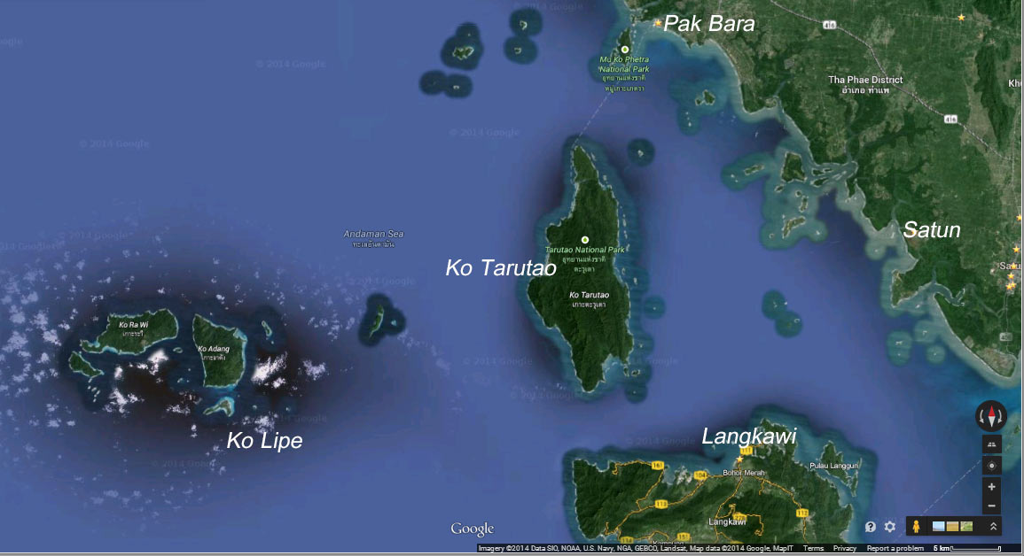 Putting it in perspective: Ko Lipe is 40km from Pak Bara and only 30km from Langkawi