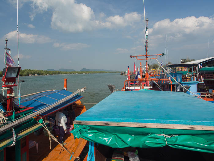 Thai squid fishing boat leaves Pak Bara in Satun