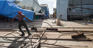 Worker in the shipyard