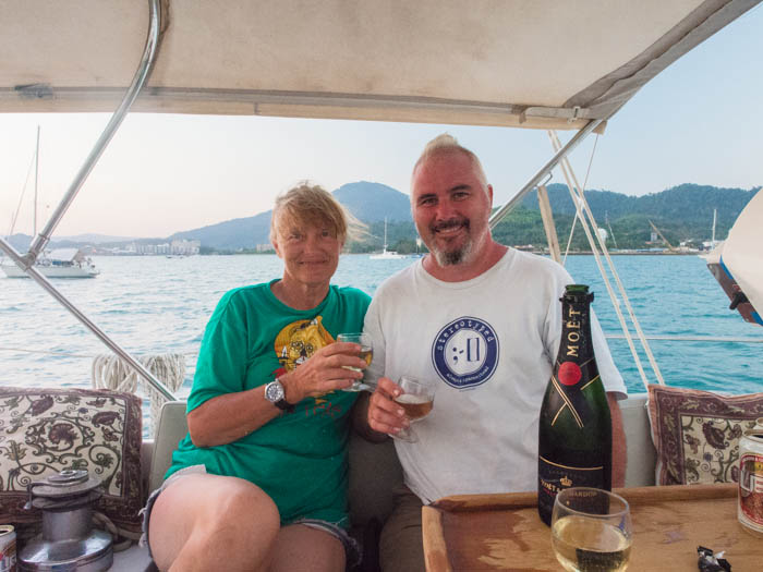 Celebrating at anchor