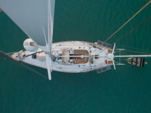 View from the top of the mast looking down