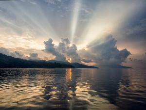 Incredible sunrise over Adang