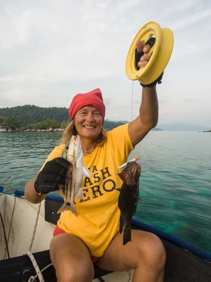 Liz with two of her catches. See the video for the action