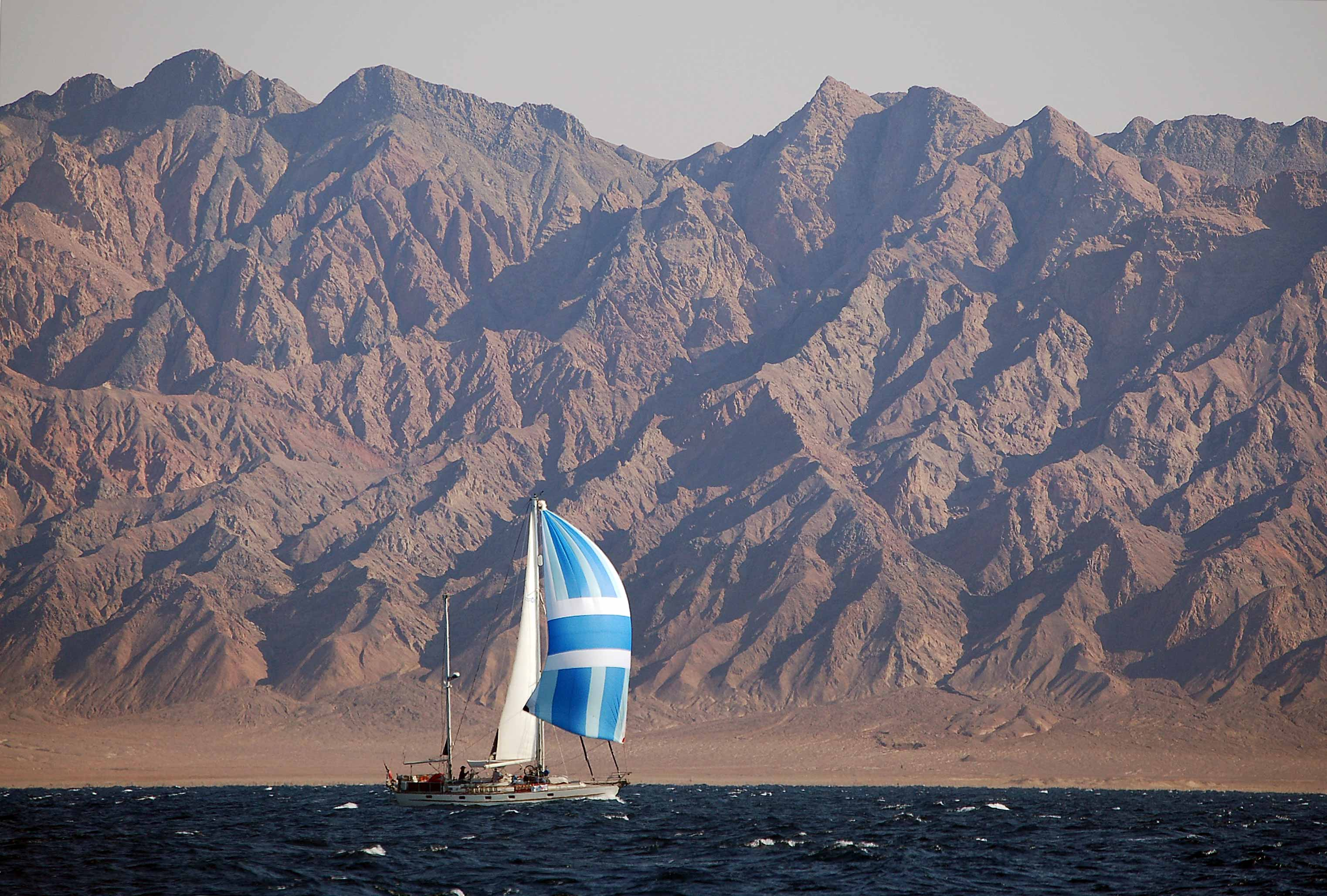 Esper running down-wind in the northern Red Sea, Sinai.